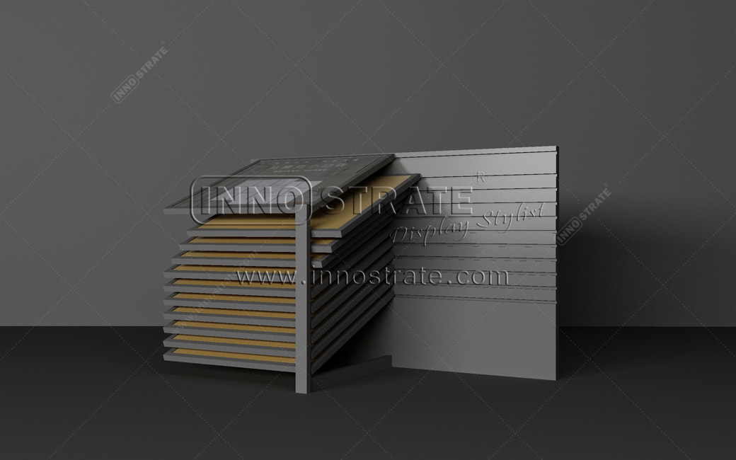 New Fashion Design for Custom Design Table Top Metal Granite Sample Display Tower Advertising Floor Tiles Display Racks